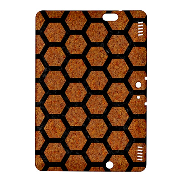 HEXAGON2 BLACK MARBLE & RUSTED METAL Kindle Fire HDX 8.9  Hardshell Case