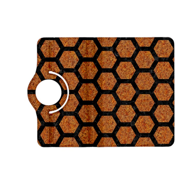 HEXAGON2 BLACK MARBLE & RUSTED METAL Kindle Fire HD (2013) Flip 360 Case