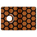 HEXAGON2 BLACK MARBLE & RUSTED METAL Kindle Fire HDX Flip 360 Case Front