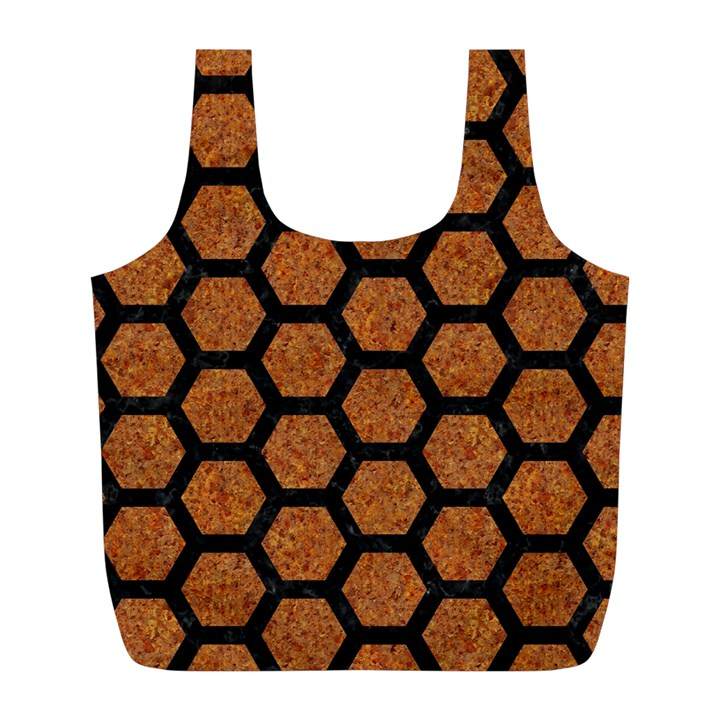 HEXAGON2 BLACK MARBLE & RUSTED METAL Full Print Recycle Bags (L)