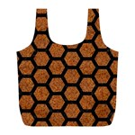 HEXAGON2 BLACK MARBLE & RUSTED METAL Full Print Recycle Bags (L)  Back