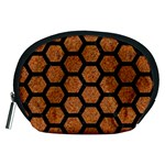 HEXAGON2 BLACK MARBLE & RUSTED METAL Accessory Pouches (Medium)  Front