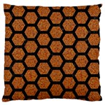 HEXAGON2 BLACK MARBLE & RUSTED METAL Large Flano Cushion Case (One Side) Front