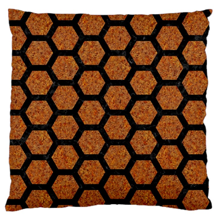 HEXAGON2 BLACK MARBLE & RUSTED METAL Large Flano Cushion Case (One Side)