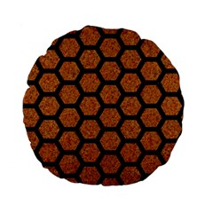 Hexagon2 Black Marble & Rusted Metal Standard 15  Premium Flano Round Cushions