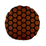 HEXAGON2 BLACK MARBLE & RUSTED METAL Standard 15  Premium Flano Round Cushions Front