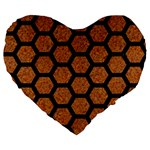 HEXAGON2 BLACK MARBLE & RUSTED METAL Large 19  Premium Flano Heart Shape Cushions Front