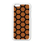 HEXAGON2 BLACK MARBLE & RUSTED METAL Apple iPhone 6/6S White Enamel Case Front