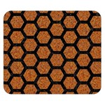 HEXAGON2 BLACK MARBLE & RUSTED METAL Double Sided Flano Blanket (Small)  50 x40 Blanket Front