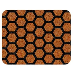Hexagon2 Black Marble & Rusted Metal Double Sided Flano Blanket (medium)