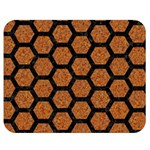 HEXAGON2 BLACK MARBLE & RUSTED METAL Double Sided Flano Blanket (Medium)  60 x50 Blanket Front