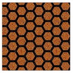 HEXAGON2 BLACK MARBLE & RUSTED METAL Large Satin Scarf (Square) Front