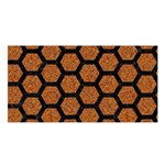 HEXAGON2 BLACK MARBLE & RUSTED METAL Satin Shawl Front