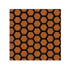 Hexagon2 Black Marble & Rusted Metal Small Satin Scarf (square)