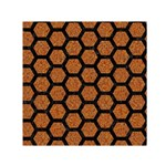 HEXAGON2 BLACK MARBLE & RUSTED METAL Small Satin Scarf (Square) Front