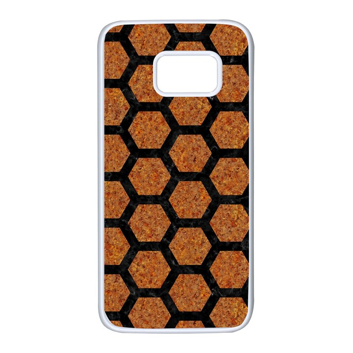 HEXAGON2 BLACK MARBLE & RUSTED METAL Samsung Galaxy S7 White Seamless Case