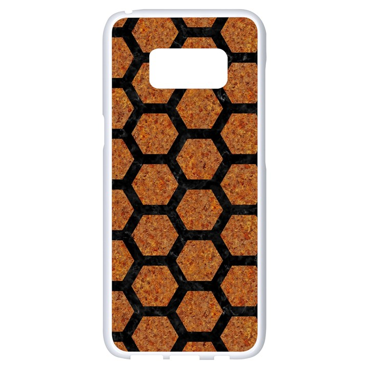HEXAGON2 BLACK MARBLE & RUSTED METAL Samsung Galaxy S8 White Seamless Case