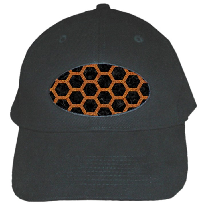 HEXAGON2 BLACK MARBLE & RUSTED METAL (R) Black Cap