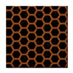 HEXAGON2 BLACK MARBLE & RUSTED METAL (R) Tile Coasters Front