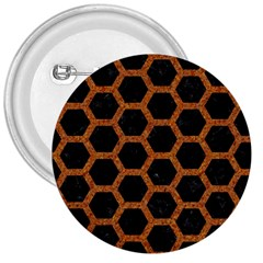 Hexagon2 Black Marble & Rusted Metal (r) 3  Buttons