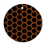 HEXAGON2 BLACK MARBLE & RUSTED METAL (R) Ornament (Round) Front