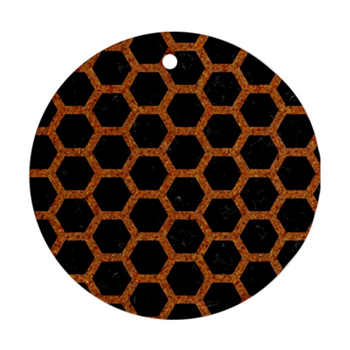 HEXAGON2 BLACK MARBLE & RUSTED METAL (R) Ornament (Round)