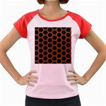 HEXAGON2 BLACK MARBLE & RUSTED METAL (R) Women s Cap Sleeve T-Shirt Front