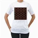 HEXAGON2 BLACK MARBLE & RUSTED METAL (R) Women s T-Shirt (White) (Two Sided) Front