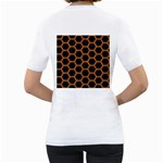 HEXAGON2 BLACK MARBLE & RUSTED METAL (R) Women s T-Shirt (White) (Two Sided) Back