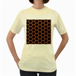 HEXAGON2 BLACK MARBLE & RUSTED METAL (R) Women s Yellow T-Shirt Front