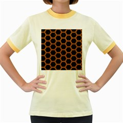 Hexagon2 Black Marble & Rusted Metal (r) Women s Fitted Ringer T Shirts
