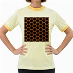 HEXAGON2 BLACK MARBLE & RUSTED METAL (R) Women s Fitted Ringer T-Shirts Front