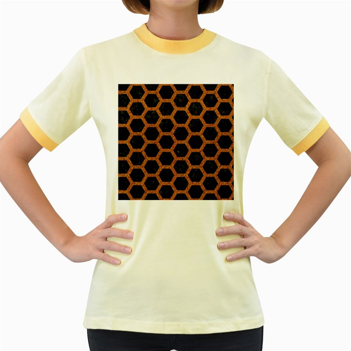 HEXAGON2 BLACK MARBLE & RUSTED METAL (R) Women s Fitted Ringer T-Shirts