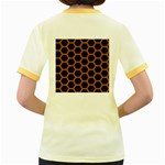 HEXAGON2 BLACK MARBLE & RUSTED METAL (R) Women s Fitted Ringer T-Shirts Back
