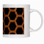 HEXAGON2 BLACK MARBLE & RUSTED METAL (R) White Mugs Right