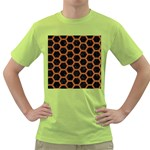HEXAGON2 BLACK MARBLE & RUSTED METAL (R) Green T-Shirt Front