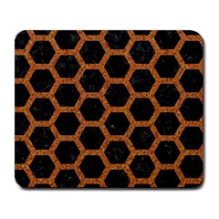 Hexagon2 Black Marble & Rusted Metal (r) Large Mousepads