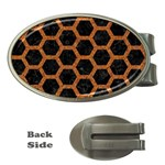 HEXAGON2 BLACK MARBLE & RUSTED METAL (R) Money Clips (Oval)  Front