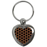 HEXAGON2 BLACK MARBLE & RUSTED METAL (R) Key Chains (Heart)  Front