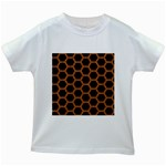 HEXAGON2 BLACK MARBLE & RUSTED METAL (R) Kids White T-Shirts Front