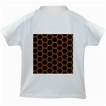 HEXAGON2 BLACK MARBLE & RUSTED METAL (R) Kids White T-Shirts Back