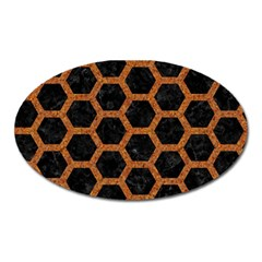 Hexagon2 Black Marble & Rusted Metal (r) Oval Magnet