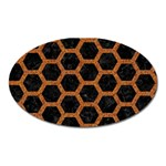 HEXAGON2 BLACK MARBLE & RUSTED METAL (R) Oval Magnet Front