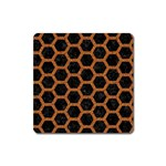 HEXAGON2 BLACK MARBLE & RUSTED METAL (R) Square Magnet Front