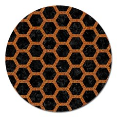 Hexagon2 Black Marble & Rusted Metal (r) Magnet 5  (round)