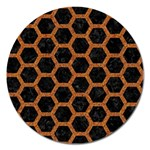 HEXAGON2 BLACK MARBLE & RUSTED METAL (R) Magnet 5  (Round) Front
