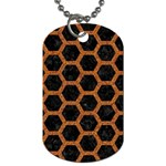 HEXAGON2 BLACK MARBLE & RUSTED METAL (R) Dog Tag (One Side) Front