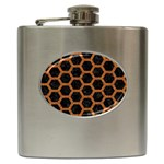 HEXAGON2 BLACK MARBLE & RUSTED METAL (R) Hip Flask (6 oz) Front