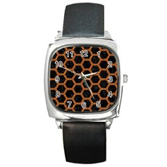 Hexagon2 Black Marble & Rusted Metal (r) Square Metal Watch