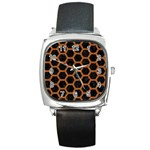 HEXAGON2 BLACK MARBLE & RUSTED METAL (R) Square Metal Watch Front